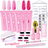 Makartt Poly Nail Extension Gel Kit, Pink Nail Enhancement Builder Gel with Slip Solution and LED Mini Nail Lamp All-in-one French Nail Art Design Beginner Kit