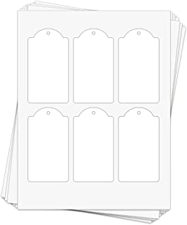 60 Printable White Cardstock Domed Rectangle Hang Tags with Holes, 2.375 x 4.25 Inches, Two-Sided