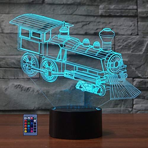 Illusion 3D Train LED Lampe Art Déco Lampe Lumières Décoration Lumière Télécommande Touch Control 7/16 Couleurs Change Alimenté par USB Enfants Cadeau Anniversaire Décoration de Noël