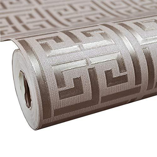 Geometrische Tapete Im Antiken Griechischen Stil Karomuster PVC Wasserdicht Und Antifouling Für Die Dekoration,brown,0.53m*10m