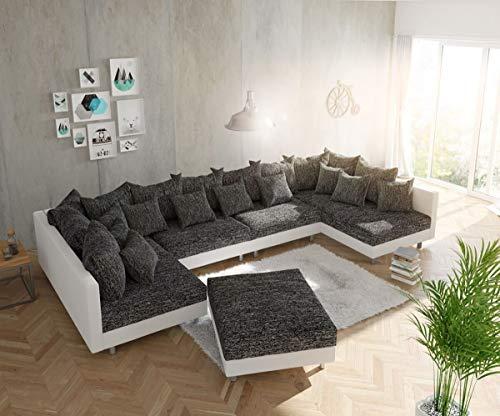 DELIFE Couch Clovis modular - Ecksofa, Sofa, Wohnlandschaft & Modulsofa (Schwarz/Weiss, Sofa XL mit Hocker)