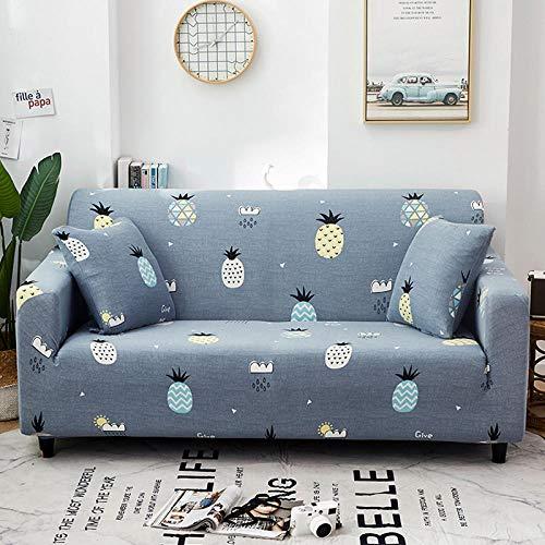 Funda de Sofá Elástica Funda Sofá Gruesa Antideslizante, Cubierta Sofa Muebles con Cuerda de Fijación Antideslizante Protector de Muebles (Nube de piña, Azul, 2 Plazas )