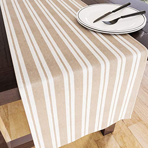 Encasa Homes Table Runner for 8 seater Dining - Franca Beige Stripes - Large 35 x 264 cm, Eco-Friendly Cotton, Decorative Homespun Cloth for Party, Banquet, Restaurant & Outdoors - Machine Washable