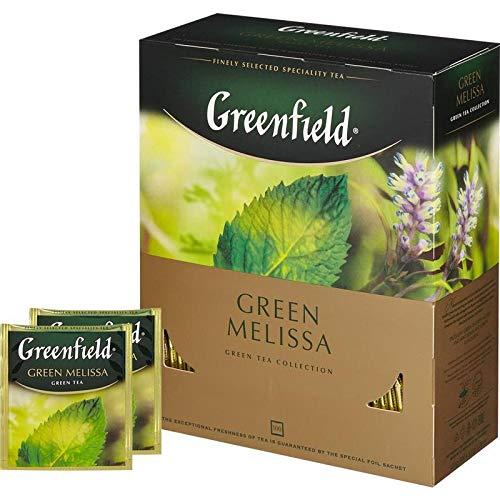 Greenfield Green Melissa, Aromatisierter Grüner Tee Mit Minze Und Zitronenmelisse, Green tea, 100 Beutel mit zwei Beuteln mit Etiketten in einem Folienbeutel (100 x 1,5 g), 150g