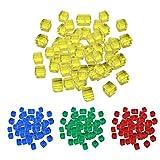 chiwanji Pack de 400 Dados de 10mm 4 Colores Set Juegos de Amarillo + Verde + Rojo + Azul
