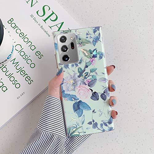 Herbests Kompatibel mit Samsung Galaxy Note 20 Ultra Hülle Transparent Silikon Blumen Schutzhülle Glitzer Glänzend Bunt Ultra Dünn weiche Silikon Handyhülle Tasche Rückschale Crystal Case,Grün