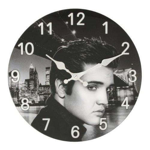 Widdop W9716 Wanduhr aus Glas mit Elvis Presley Motiv, 30 cm