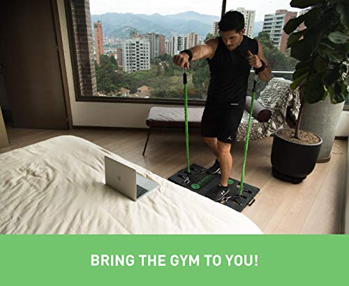 BodyBoss 2.0 - Full Portable Home Gym Workout Package + Resistance Bands - Collapsible Resistance Bar PKG4-Green