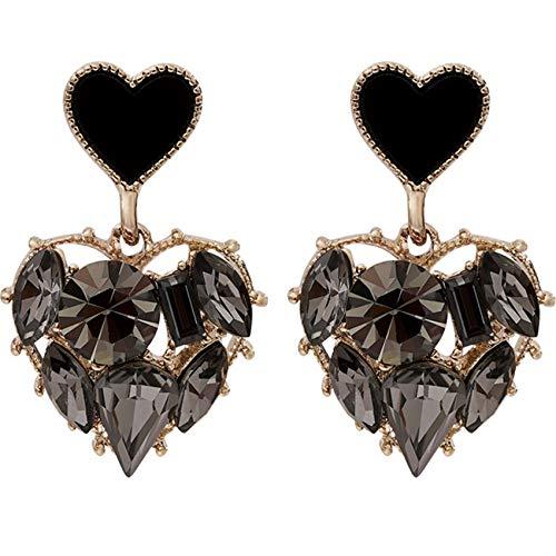ZSDFW Pendientes de mujer con diamantes de imitación negro, con forma de corazón y corazón, pendientes de boda para orejas de gota y accesorios de regalo de 2,5 x 1,5 cm