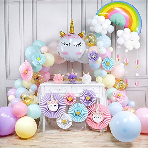 PartyWoo Kit de Guirnalda Globo Unicornio, 179 Piezas Abanicos de Papel, Globos de Unicornio, Globo de Arcoiris, Pom Poms, Bandera, Globos Pastel Gigantes para Fiesta de Cumpleaños de Unicornio