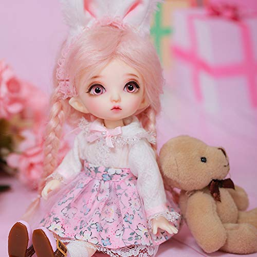 BJD Doll 1/8 SD Dolls 5.9 Inch Ball Jointed Doll DIY Toys with Full Set Clothes Shoes Wig Makeup, Best Gift for Girls, Can Be Used for Collections, Gifts, Children's Toy