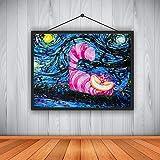 YHZSML Moderne Hauptdekoration HD-Ölgemälde Vincent Van Goghs sternenklare Nacht Alice im Wunderland-Katzensegeltuch 60X80CM