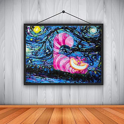 YHZSML Moderne Dekoration HD ölgemälde Vincent Van Goghs sternenklare Nacht Alice im Wunderland Katze leinwand 40X50 cm