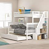 Merax Twin Over Full Stairway Bunk Bed with Storage and Trundle Bed, No Box Spring Required, White