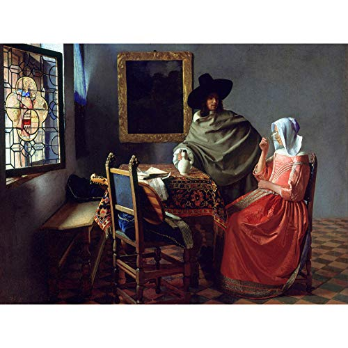 Jan Vermeer Van Delft Het Glas Van Wijn Grote Ingelijste Kunstdruk