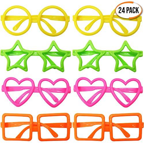 THE TWIDDLERS Granel 24 Gafas Surtidas de Formas Novedosas - Sin Lentes - Ideal para Accesorios Fiestas de Cumpleaños - Regalo niños de Fiesta - Rellenos piñata -Bolsas Juguetes Fiestas