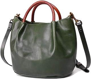 Tussy Women's leather bag hit color fashion handbag retro Messenger bag large capacity shoulder bag (Color : Green, Size : 22 * 14 * 20cm)