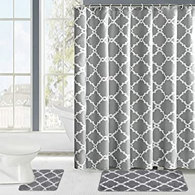 Fashion Dream Shower Curtains Set & Flannel Foam Bathroom Mat Set Combination 3 Pcs Set - Geometric Patterned Shower Curtain Gray and White 18 x 30 Bath Mat, 18 x 18 Toilet Mat & Shower Curtain