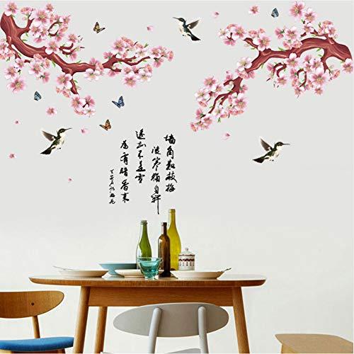 Jasonding Braune Rote Pflaume Baum Zweig Wandaufkleber Wohnzimmer Wohnzimmer Restaurant Dekor Porzellan Pfirsich Blumen Kunst Poesie Vinyl Aufkleber
