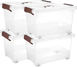 17 Quart Clear Storage Latch Box/Bin, 4-Pack Plastic Stackable Box Organization with Wheels Latching Handle and Lid
