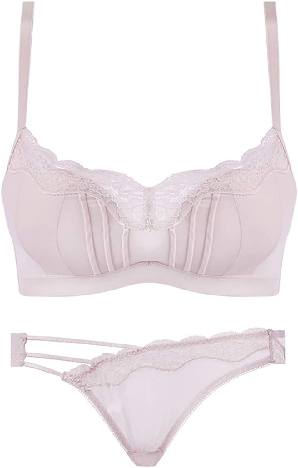 Brassiere Sets Sexy deep V Gather lace Embroidery Pattern, no Steel Ring, Sponge, Adjustable Chest Type, Four Rows of Three Buckles Cloth (Size   Pink)