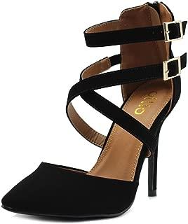 Ollio Women Shoes Cross Strap Back Zipper Stiletto High Heel Faux Suede Pumps