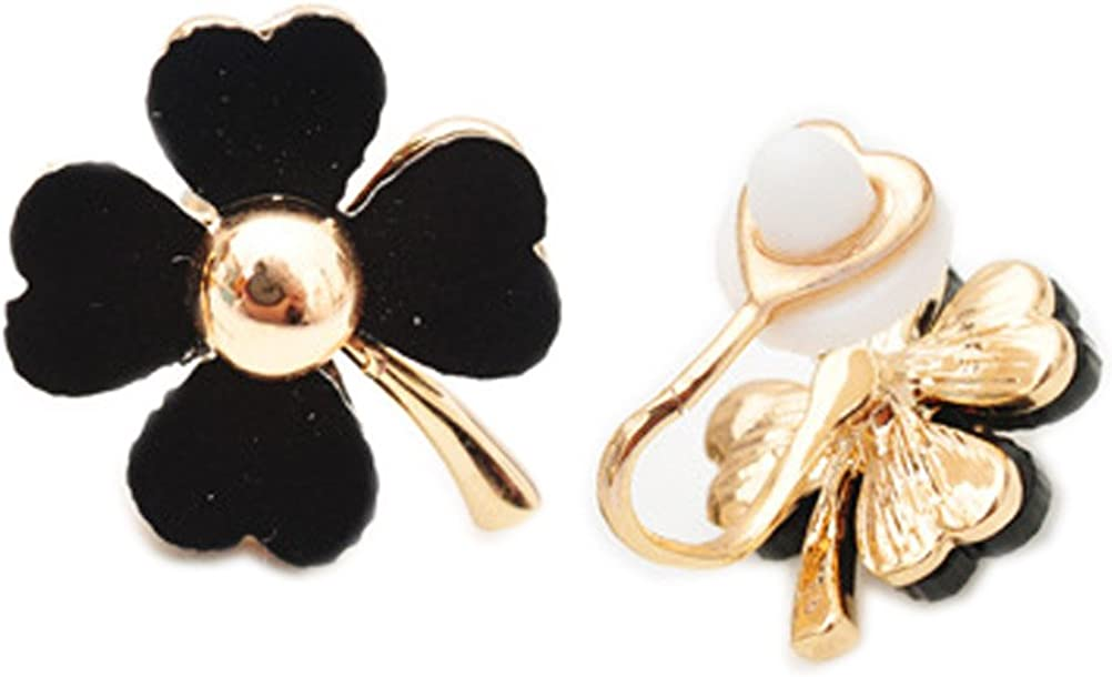 Clover Flower Soft Rubber Back Clip on Earring Clips for non Pierced Resin for Women Black