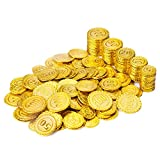 Wowok 200 PCS Plastic Gold Coins for Pretend and Play, Pirates Treasure Coins...