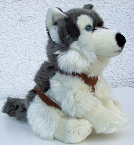 Uni-Toys Schlittenhund mit Geschirr Hund Husky 33 cm