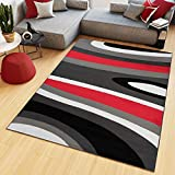 Tapiso Maya Alfombra de Salón Sala Comedor Diseño Moderno Rojo Gris Negro Blanco Ondas Rayas Delgada 180 x 250 cm