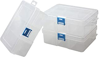 BangQiao 3 Pack Plastic Removable Divider Box and Storage Case for Small Parts, Hardware and Craft, 6 Grids, Clear