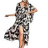 XXYsm Damen Strandkleid Sommer Elegant Poncho Ethnisch Drucken Lose Kaftan Kittel Maxi Kleid V-Ausschnitt Einteiliges Nachthemd (Schwarz, M)