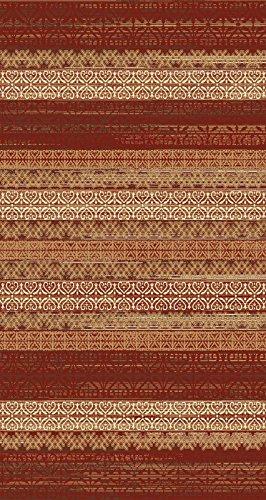 Maxy Home Leila Contemporary Ikat Lines Red 5 ft....