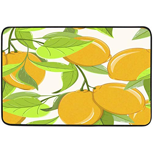 Entrance Door Doormat, Seamless Pattern of Lemons on Light Background Ripe Sweat Citrus Fruits can be Used, W15.75 x L23.6 Inch Outdoor Indoor Non-Slip Pads Living Rooms Rug