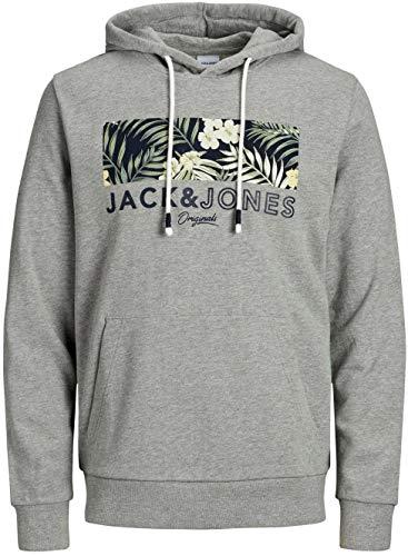 JACK & JONES Herren JORTROPIC Sweat Hood Kapuzenpullover, Light Grey Melange, XL