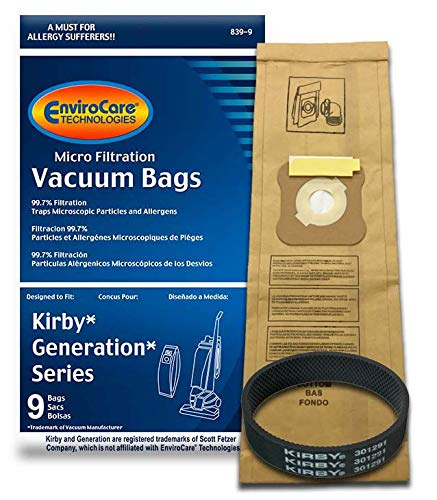 EnviroCare 9 Kirby Generation 1,2,3,4,5,6 and Ultimate G Allergen Filtration Bags 1 Belt