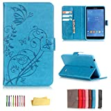 UUcovers Case for Samsung Galaxy Tab 4 7.0 & Nook 7.0' 2014 Cover (SM-T230/ SM-T230NU/ T231/T235), Embossed PU Leather Magnetic Folio Stand TPU Wallet with Pocket Cards Holder, Blue Butterfly Flower