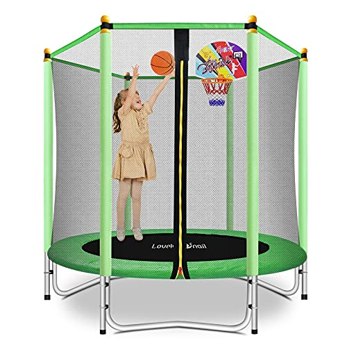 Lovely Snail 5FT Trampoline for Kids with Safety Enclosure Net Basketball Hoop, Mini Trampoline for...