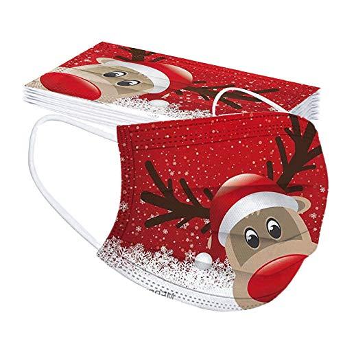 FORH-Baby 10 pcs Weihnachten Kinder Einweg Mundschutz Mehrfarbig Print Mund und Nasenschutz Staubschutz Atmungsaktive Gesichtsschutz Bandana Loop Halstuch für Kinder