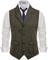 PJ PAUL JONES Men's Slim Fit Tailored Collar Waistcoat Wool Tweed Suit Vest Army Green, Small