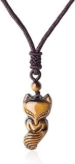 Collar Ajustable Colgante de Zorro Piedra Semipreciosa de Protección