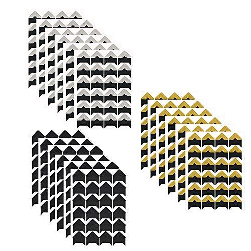 432 Fotoecken Selbstklebend Aufkleber 18 Blätter für DIY Scrapbook, Fotoalbum Album Tagebuch Bild Dekoration Bilderalbum Notizbuch (Schwarzer Boden)