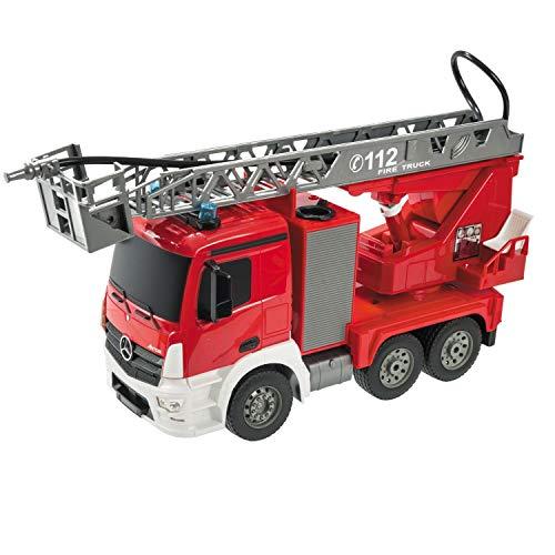 Mondo Motors - Mercedes Antos Fire Truck RC - Camion dei pompieri radiocomandato in scala 1:20 - funzione luci/suoni/idrante - Controller 2.4 GHz - Colore rosso - 63512