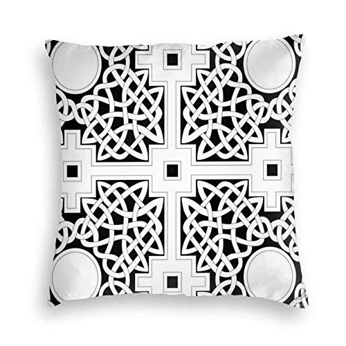 Decorative Throw Pillow Cover Case Vintage,Celtic Knot Composition with Primitive Geometric Forms in an Intricate Design,Pillow Cases Outdoor Indoor Cushion Covers for Home Sofa Couch 22x22 inch