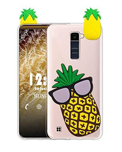 Sunrive Funda para LG K8 (2016), Silicona Transparente Funda Slim Fit Gel 3D Carcasa Case Bumper de Impactos y Anti-Arañazos Espalda Cover(W1 Piña) + 1 x Lápiz óptico