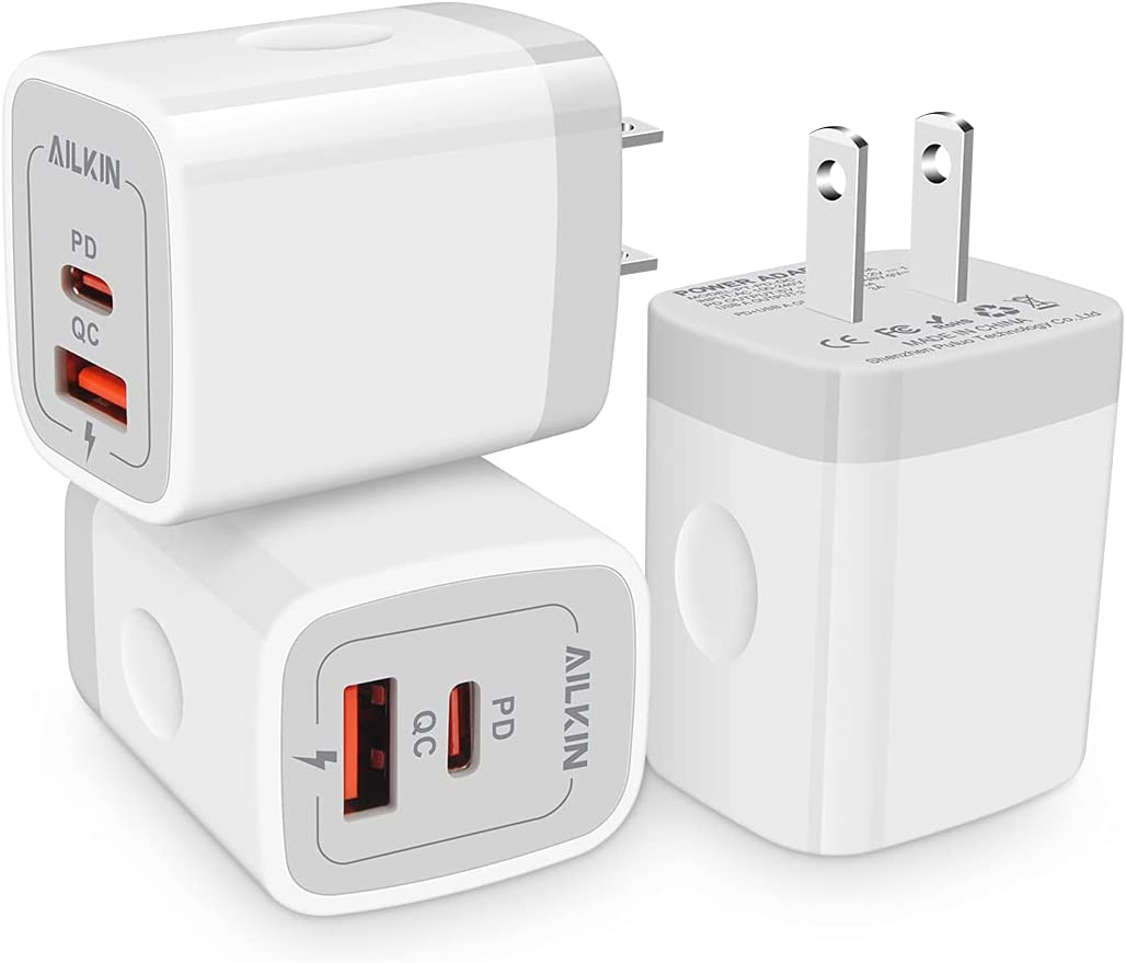 3Pack Dual Port USB-C Wall Plug-in USB Charger, AILKIN 20W Power Delivery with QC3.0 USB A Double Port Fast Charging Block for iPhone 13 12 Pro Max 12 Pro 12 Mini 12 11 Pro Max 11 Pro 11 SE X XS Cube