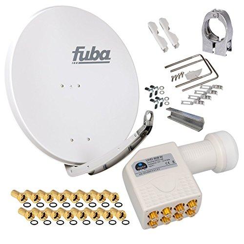 FUBA 85cm für 8 Teilnehmer (Direktanschluss) Digital SAT Anlage DAA850G + Octo LNB weiß 0,1dB Full HDTV 4K 3D + 16 Vergoldete F-Stecker und F- Montageschlüssel gratis dazu