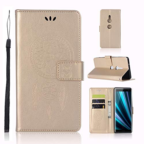 SOCINY Estuche Sony Xperia XZ3, Estuche de Cuero PU Premium con Tarjeta de crédito Ranura para Tarjeta de crédito Multifuncional Estuche Protector búho en Relieve para Sony Xperia XZ3 (Oro)