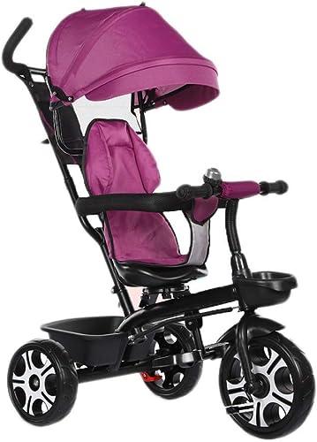 Para tu estilo de juego a los precios más baratos. Yuany Yuany Yuany Triciclo con versátil Diseño de toldo Triciclo 4 en 1 con Frenos, Triciclo para bebés al Aire Libre, 2 Colors, 90x70x56cm (Color  púrpura)  marca en liquidación de venta
