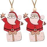 LILIGOD 2PC Weihnachten Tier Anhänger Holz Hängen Weihnachten Santa Schneemann Engel Ornament Xmas Party Home Decor Weihnachtsbaum Dekorativer Anhänger Geschenk